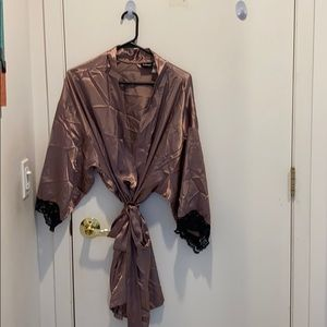 Bronze wrap robe with black lace saw